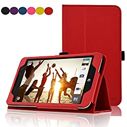 Acdream Asus Memo Pad 7 Lte Case, Premium Pu Leather Smart Cover Case For At&t Asus Memo Pad 7 Lte Gophone Prepaid Tablet Me375cl, Red