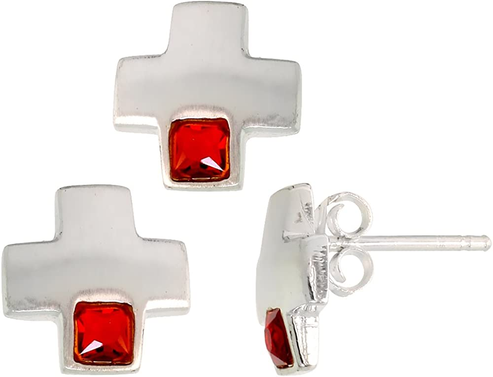 Sterling Silver Princess Cut CZ Greek Cross Stud Earrings /& Pendant Set Assorted colors for women Brushed finish