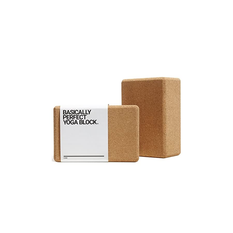 "BASICALLY PERFECT [2 PC Set] Cork Yoga Blocks, Eco Friendly, Non Toxic, Non Slip, Will Not Chip, 9"" x 6"" x 4"", Naturally Self Sanitizing"
