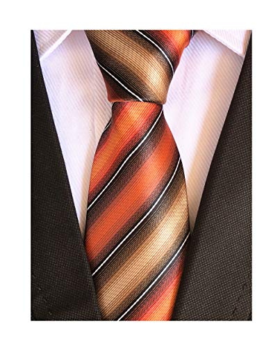 Secdtie Men's Classic Stripe Jacquard Woven Silk Tie Formal Party Suit Necktie (One Size, Orange Grey)