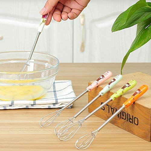 Gshy color aleatorio utensilios 2 unidades estilo dibujado Batidora de huevos batidor de acero inoxidable mezclador con mango de cer/ámica port/átil