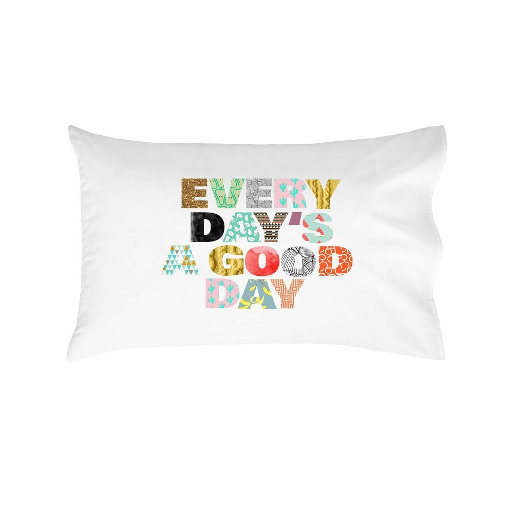 Oh, Susannah Every Day's A Good Day Pillowcase - Inspiring Pillowcase (1 20x30 inch, White) Dorm Room Accessories Gifts Her by Oh, Susannah