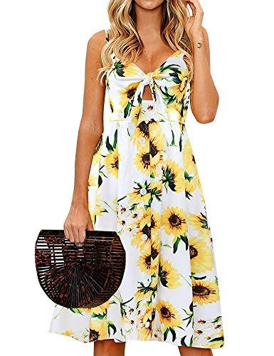 FANCYINN Womens Sunflower Swing A-Line Dress Floral Prints Tie Front Button Down Spaghetti Strap Midi Dress Sunflower White M ()