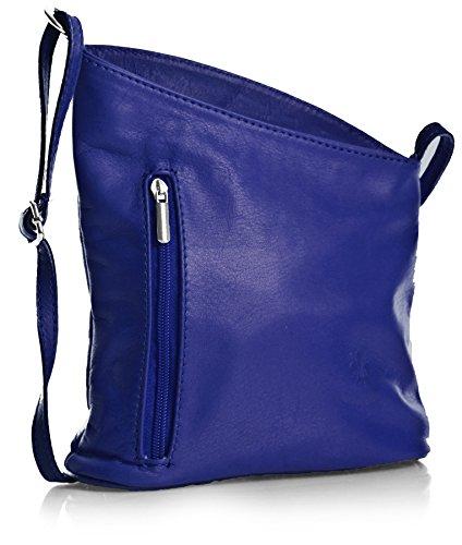 tipo azul cm Pequeño real BHBS en Piel 19x18x6 Bandolera Bolso Dama italiana Azul Auténtica para Venenzi LxAxP Bw7W5ZI7xq
