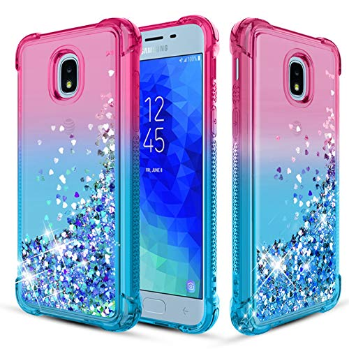 Likeny Case for Samsung Galaxy J7 Star,Samsung Galaxy J7 Crown/J7 Refine/J7 2018,Liquid Floating Quicksand Bling Sparkle,Shockproof,Glitter Cover for Cute Girls Women Phone Case Pink/Teal