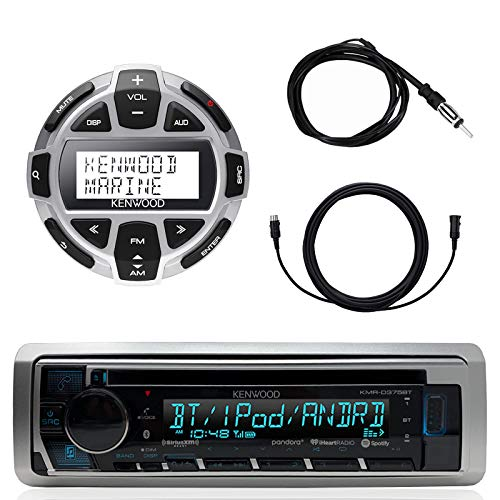 """Kenwood Marine Motorsports Boat Yacht in-Dash Single DIN CD Bluetooth UBS AUX Receiver, Kenwood Digital LCD Display Wired Remote, 40"""" Enrock AM/FM Antenna, 7 Meter - 22 Ft Extension Cable"""