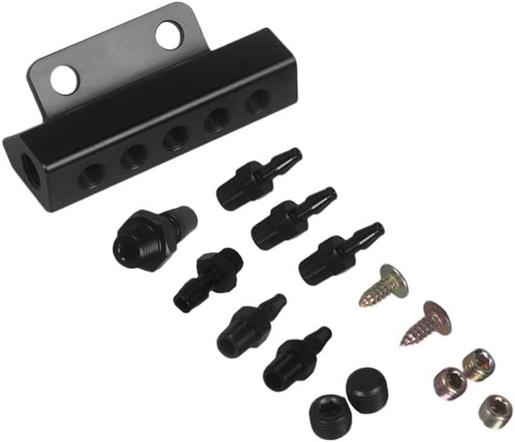 Walmeck Vacuum Intake Manifold 6 Port 1/8 NPT Universal Aluminum Turbo Boost Block Intake Manifold Black