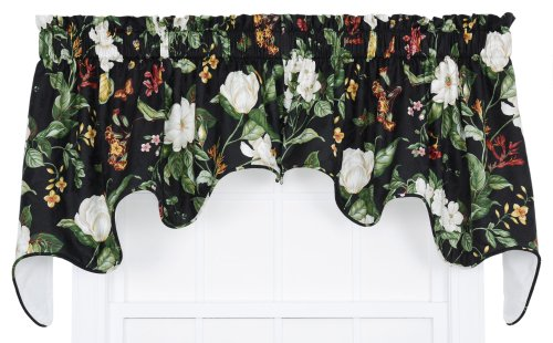 Ellis Curtain Garden Images Large Scale Floral Print Lined Duchess Valance, 100 by 30-Inch, Black from Ellis Curtain