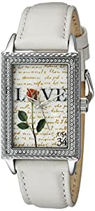 "The P.S. Collection by Arjang and Co. Women's AZ-3006S-WH ""Love Letters""  White Leather Strap Watch and Sterling Silver Pendant Gift Set"