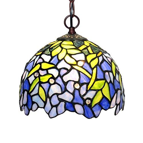 - Tiffany Style Pendant Lamp, 8-inch Wisteria Desgin Glass Chandelier, Simple Restaurant Bar Balcony Aisle Pendant Lights