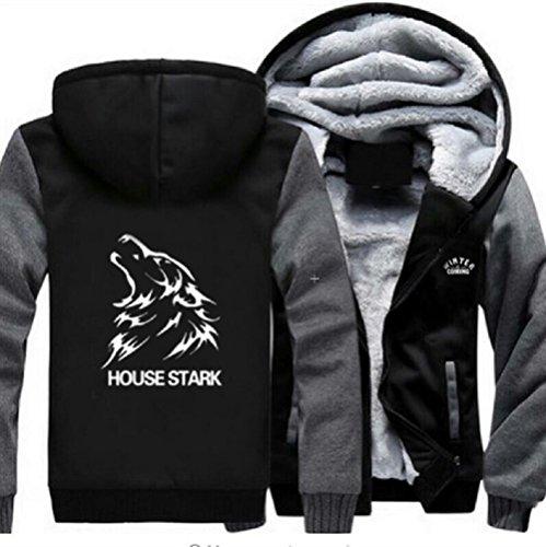 House Stark Hoodie Sweatshirt Plus Velvet Hoody Zip Up Coat Jacket Unisex XXL