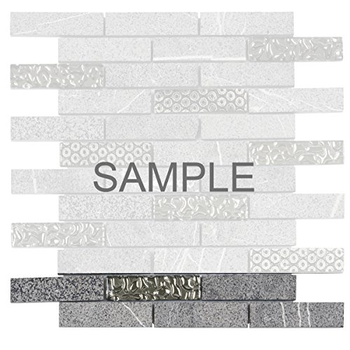 Decorative Insert Tile Flooring (Modket TDH133MO-S Sample Raw Black Marquina Gray Concrete Marble Stone Mosaic Tile, Deco Insert Blended Brick Joint Pattern Backsplash)