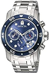 Invicta Men's 'Pro Diver' Quartz Stainless Steel Automatic Watch, Color:Silver-Toned (Model: 21921)