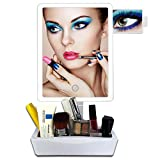 Artifi LED Large Lighted Makeup Mirror, Lighted Vanity Mirror with 10X Insert Magnifying Mirror and Makeup Organizer, Fully Adjustable Desktop Makeup Mirror with Lights, Xmas Gifts