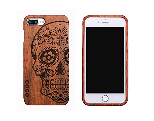 new product 2fb97 0678a iPhone 8 Plus Skull Wood Cases - iPhone7 Plus Skull Wooden Case Cover with  100% Natural Real Bamboo/Wood Material and Unique Design Handmade Carved ...