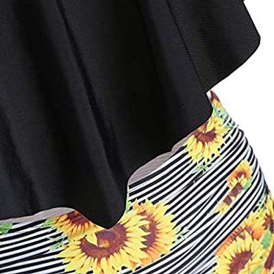 Swimsuits Poyxiany for Womens Sunflower Two Piece Bathing Suits Ruffled Flounce Top with High Waisted Tankini Bikini Set: Clothing