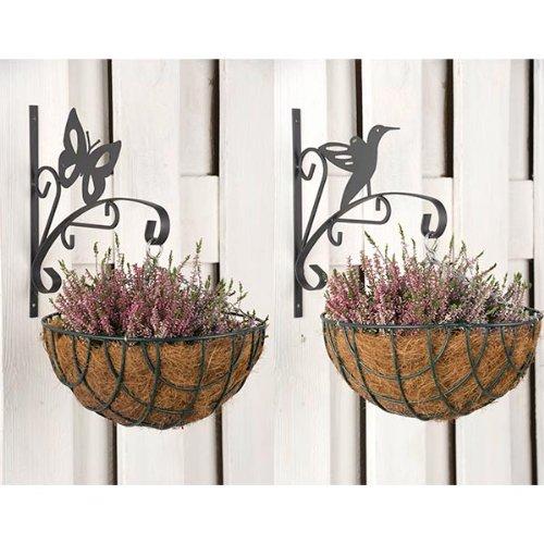 wohnen-freizeit 2 piè ces. Lot de crochets pour pot de fleurs Fer 29 x 2 x 30 cm Fleurs Crochets papillon, oiseaux fleurs fleurs