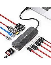 TSUPY USB C Hub 11 in 1 USB C to HDMI 4K Dual Display VGA Ethernet USB C PD100w / Data 3 USB Audio Jack SD Micro SD Card Reader USB C to USB C Adapter Docking Station for MacBook Pro, etc