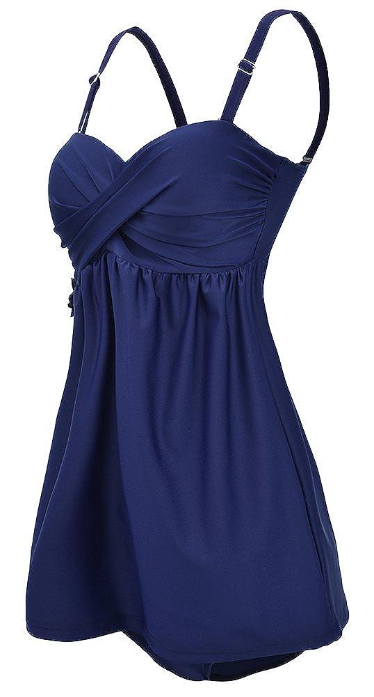 EmilyLe Womens Black Tankini Top with Short Plus Size Swimsuit Elastic Swimming Costume