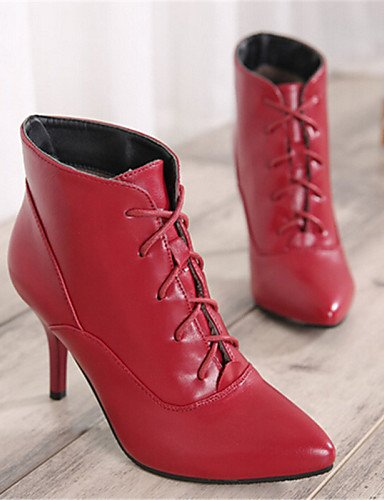 Botas eu39 uk6 mujer Rojo Semicuero eu39 us8 Puntiagudos us8 Zapatos cn39 uk6 Negro Stiletto us8 red de XZZ red uk6 cn39 red eu39 Casual Tacón cn39 qYwUEH