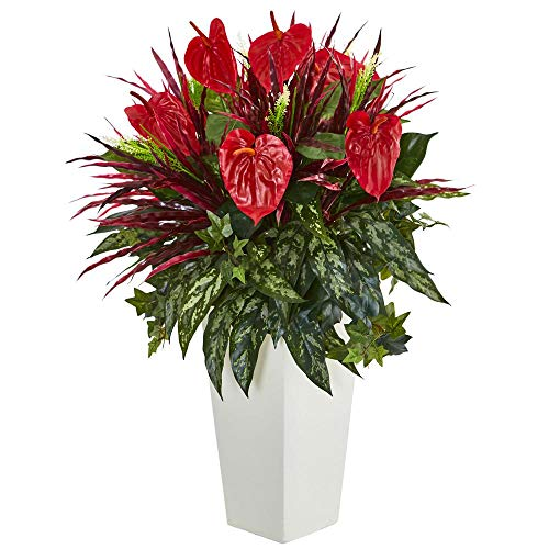 Nearly Natural Mixed Anthurium Artificial Plant in White Tower Vase