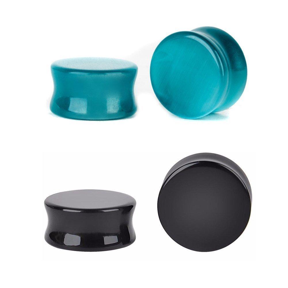 Kokoma Cats Eye Organic Stone & Black Onyx Ear Plugs (Plug gauge=22mm(7/8''))