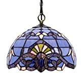 Tiffany Hanging Lamp Blue Purple Baroque 12 Inch Stained Glass Shade for Dinner Room Semi Flush Ceiling Light Fixture