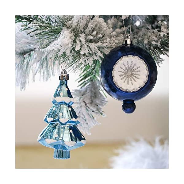 Valery Madelyn Palle di Natale 100 Pezzi di Palline di Natale, 3-5 cm Auguri Invernali Argento e Blu Infrangibili Ornamenti di Palle di Natale per Decorazioni per Alberi di Natale 5 spesavip
