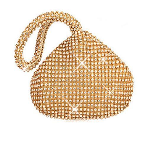 (Rhinestones Women Clutch Bagss Finger Ring Ladies Vintage Evening Bag Crystal Wedding Handbags Purse,Gold Day Clutch Bag)