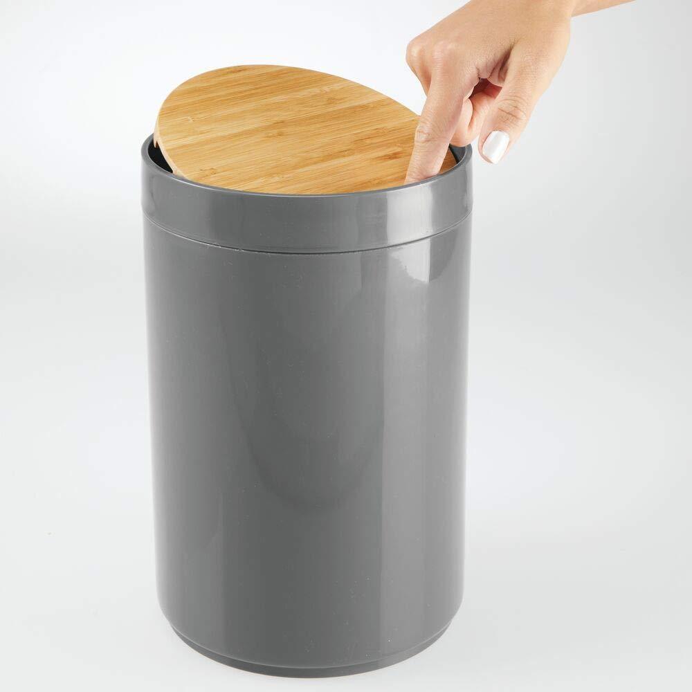 Amazon.com: MDesign - Papelera pequeña redonda de plástico ...