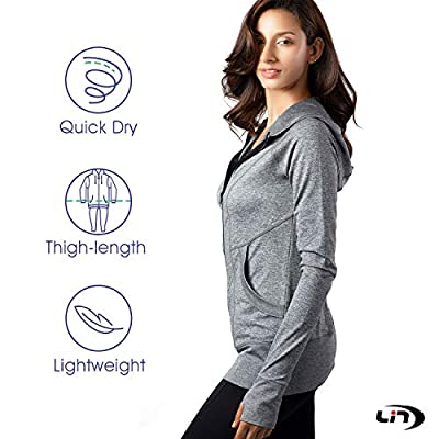 LIN Women's Lightweight Full Zip Running Track Jacket Long Sleeve Slim Fit Sports Workout Yoga Hoodie with Thumb Hole: Clothing