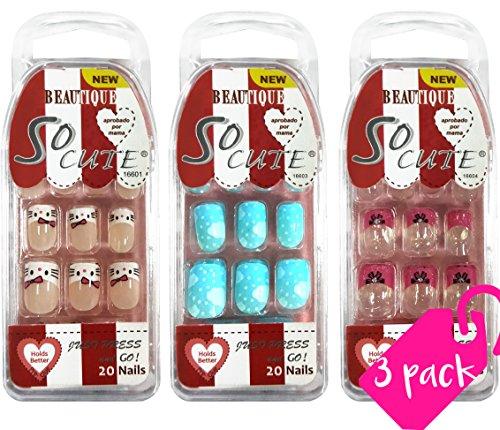 (Beautia 3 Pack So Cute Junior Nail for Kids 16601/16603/16604 (Sticker Nails))