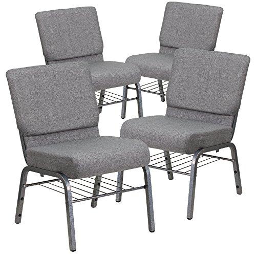 Flash Furniture 4 Pk. HERCULES Series 21''W Church Chair in Gray Fabric with Book Rack - Silver Vein (Book Rack Church Chair)