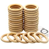 MoMaek 30 Pack Wood Rings Circles Unfinished Wood for Craft, Ring Pendant and Connectors Jewelry Making, 2.75 Inch Diameter (70mm)