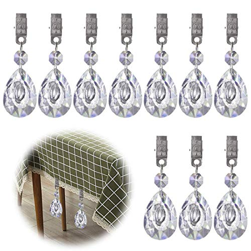 (Glarks Tablecloth Weights Set, 10Pcs Metal Clip AB Crystal Glass Teardrop Prisms Pendant Tablecloth Weights for Picnic Tables Tablecloth Weights Heavy Outdoor)