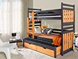 Bunk Bed SAMBOR, Children Triple Bunk Bed - Pine Wood - 24 Colours - 4 Types of Mattresses Available - Size UK Standard 199cm x 94cm x 175cm) by Ye Perfect Choice