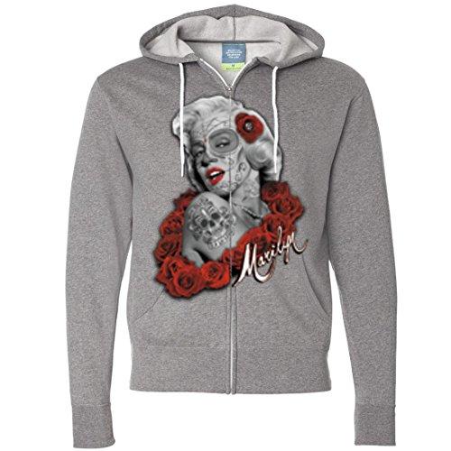 Dia De Los Muertos Marilyn Monroe Zip-Up Hoodie - Gunmetal Heather X-Large ()