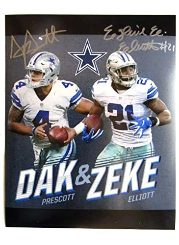 sneakers for cheap 2e1ce bddb2 Dak Prescott & Ezekiel Elliott Dallas Cowboys Signed 8x10 ...