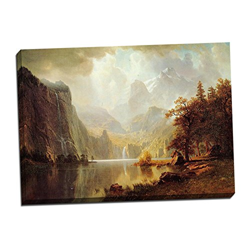 22' Art Print Poster (Albert Bierstadt In the Mountains Gallery Wrapped Canvas Giclee Print - Finished Size (W) 30.5'' x (H) 22'' [Gallery-Wrap] (V13-04T-Stretched-Border))