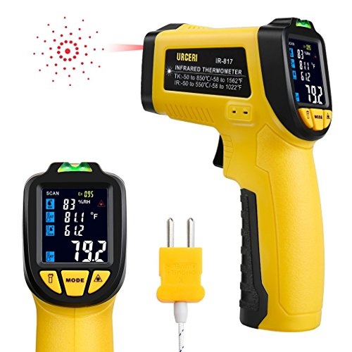 URCERI Infrared Thermometer IR-817-58°F~1022°F (-50°C~550°C) Digital IR Temperature Gun Non Contact Laser with Color Display K-Type Thermocouple for Cooking Kitchen Food Meat Grill by URCERI