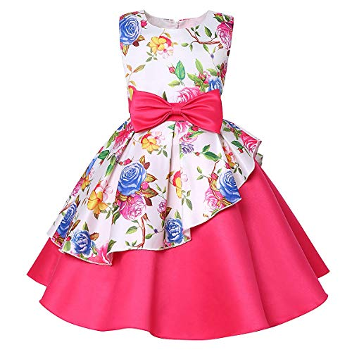 Mu yangren Girl Dress Wedding Bridesmaid Party Flower Princess Kids Dresses Fuchsia]()