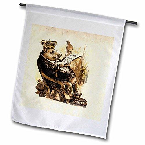 3dRose Florene Humor - Victorian Pig n His Corn - 12 x 18 inch Garden Flag (fl_61977_1)