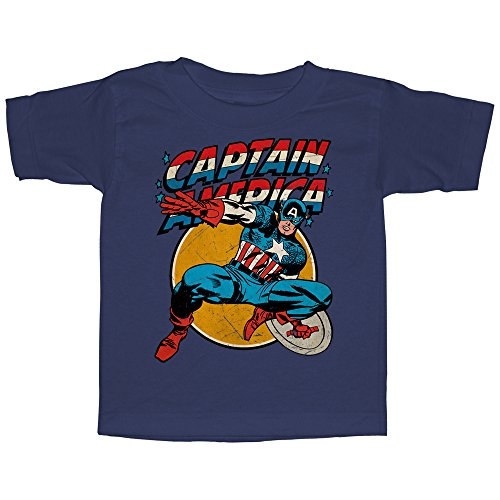 Marvel Toddler's Captain America Shield - Navy Blue T-Shirt