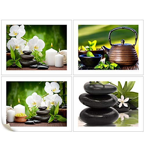 VVOVV Wall Decor - 4 Piece Canvas Wall Art Phalaenopsis Flowers Pictures Still Life Of Black Stone And White Candles Canvas Print Orchid Zen Poster Painting Home Decor (Picture Orchid Phalaenopsis)