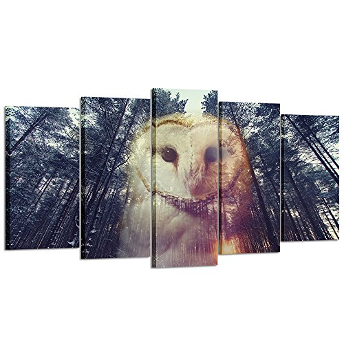 Kreative Arts - 5 Pieces Barn Owl and Pine Forest at Sunset Canvas Prints Wall Art Modern Giclee Prints Artwork Animals Pictures Photo Paintings on Canvas for Living Room Decor (Large Size 60x32inch) -