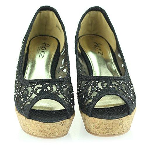 Mujer Señoras Noche Fiesta Peeptoe Diamante Tacón de Cuña Sandalias Zapatos Talla Negro