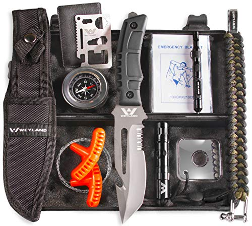 WEYLAND Outdoor Emergency Survival Kit - Tactical EDC Camping Tools, Equipment and Hiking Gear with a True Bushcraft Knife