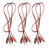 Eiechip Alligator Clips electrica linsulated Alligator Clips with Wires Test Cable Double-Ended Clips Alligator Clips Insulated Test Leads Cable Black&red 3Groups 42inches