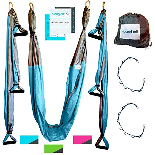 Aerial Yoga Swing - Gym Strength Antigravity Yoga Hammock - Inversion Trapeze Sling Equipment with Two Extender Hanging Straps - Blue Grey Swings & Beginner Instructions Guide