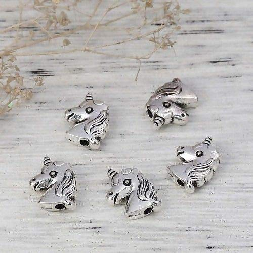 Silver 11x9mm Unicorn Two Side Metal Spacer Beads ()